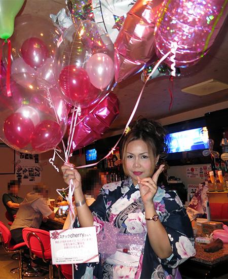 富山県魚津市のスナック チェリー様 開店2周年記念のお祝いバルーン