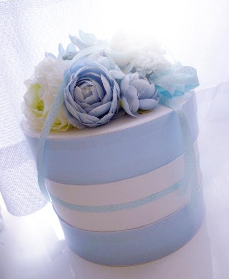出産祝いにオススメ 水色の可愛いダイバーケーキ(おむつケーキ)1段